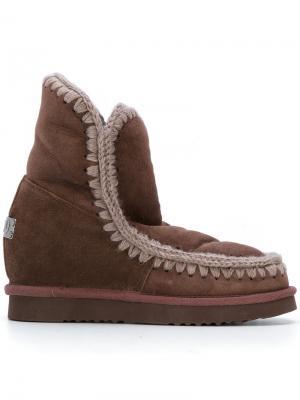 Ботинки Eskimo на потайном каблуке Mou. Цвет: коричневый