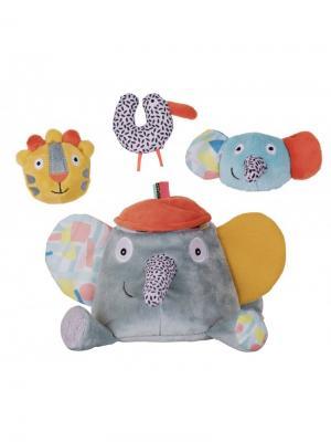 Ebulobo Развивающая игрушка Слонёнок Зигги и его друзья. Цвет: светло-голубой
