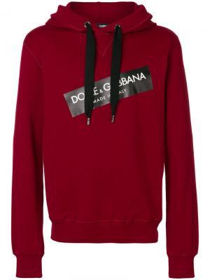Толстовка с капюшоном заплаткой логотипом Dolce & Gabbana. Цвет: красный