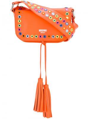 Декорированная сумка на плечо Moschino. Цвет: жёлтый и оранжевый