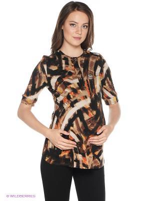 Блузка One plus. Цвет: коричневый
