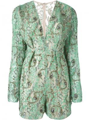 Декорированный комбинезон Alessandra Rich. Цвет: зелёный
