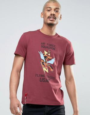 Alpha Industries Бордовая футболка классического кроя с принтом. Цвет: красный