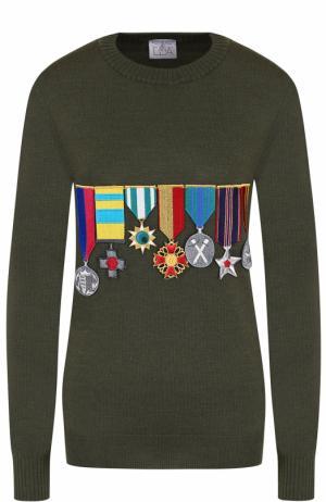 Шерстяной пуловер с круглым вырезом и нашивками Stella Jean. Цвет: зеленый