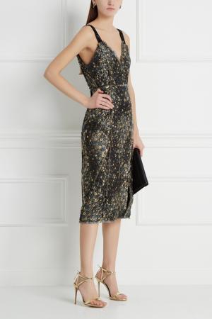 Жаккардовое платье Erdem. Цвет: золотой