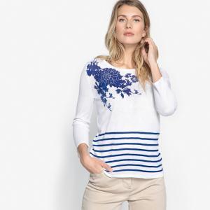 Пуловер в полоску морском стиле с круглым вырезом ANNE WEYBURN. Цвет: зеленый,серо-коричневый,фуксия,ярко-синий