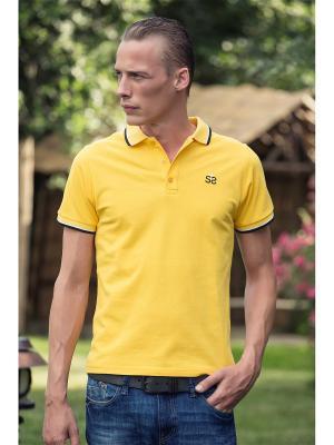 Футболка-поло Sassarini. Цвет: желтый