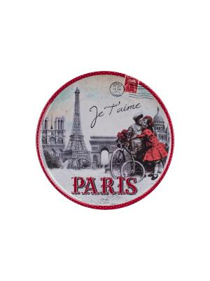 Поднос кухонный круглый ?36 см,  Париж, я тебя люблю Orval. Цвет: серый, красный, белый