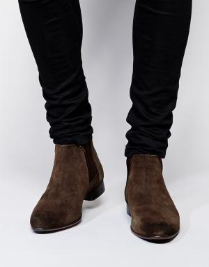 ASOS Замшевые ботинки Chelsea. Цвет: коричневый