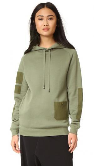 Толстовка с капюшоном и накладным карманом Helmut Lang. Цвет: винтажный болотный