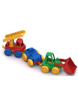 Набор ТРИО (трактор,джип,пожарка) Нордпласт.. Цвет: синий, красный, салатовый