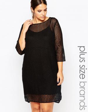 Carmakoma Цельнокройное платье с прозрачным верхним слоем. Цвет: черный
