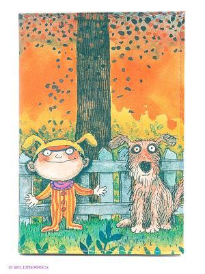 Обложка для автодокументов Мальчик и пес Mitya Veselkov. Цвет: зеленый, серо-голубой, оранжевый, желтый