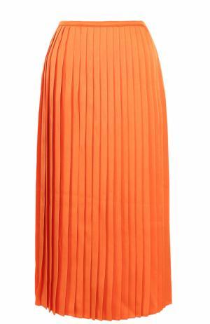 Плиссированная юбка-миди Fendi. Цвет: оранжевый