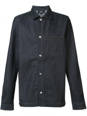 Джинсовая рубашка на кнопках A.P.C.. Цвет: синий