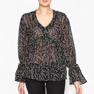 Блузка с воланами IKKS. Цвет: черный