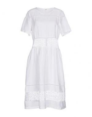 Платье до колена 120% LINO. Цвет: белый