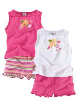 Комплект, 4 части: 2 кофточки + шорты KLITZEKLEIN. Цвет: ярко-розовый+белый+в полоску