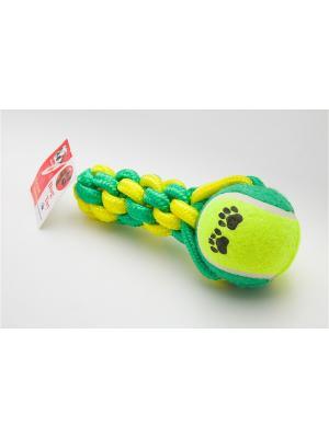 Игрушка канатная с теннисным мячом, 16,5 см Doggy Style. Цвет: зеленый