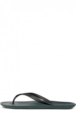 Резиновые шлепанцы с тиснением A. Testoni. Цвет: темно-синий