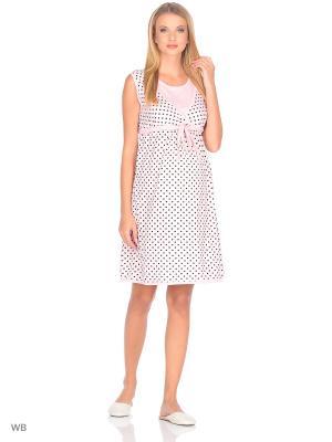 Сорочка женская для беременных и крмящих Hunny Mammy. Цвет: коричневый, розовый