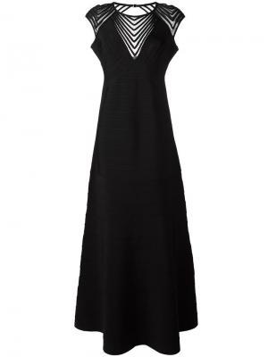 Вечернее платье с короткими рукавами Hervé Léger. Цвет: чёрный