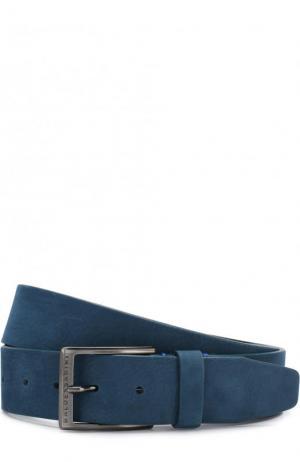 Кожаный ремень с металлической пряжкой Baldessarini. Цвет: голубой