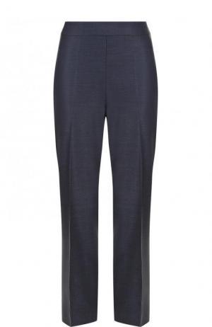 Укороченные брюки из смеси шерсти и шелка со стрелками St. John. Цвет: темно-синий