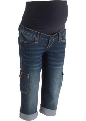 Джинсы-капри в стиле карго для беременных (темный деним) bonprix. Цвет: темный деним