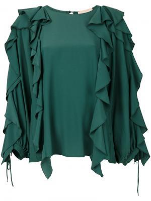 Драпированная блузка с оборками Erika Cavallini. Цвет: зелёный