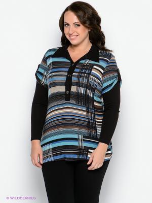 Туника Forus. Цвет: темно-коричневый, бирюзовый, синий