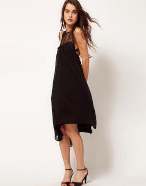 Sophia Kokosalaki Платье-свинг с кружевной вставкой и узором глаз Kore by Kokosal. Цвет: черный