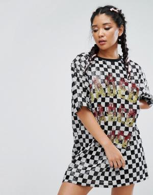 Jaded London Платье-футболка с шахматным принтом и отделкой пайетками. Цвет: мульти