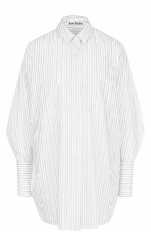 Хлопковая блуза свободного кроя в полоску Acne Studios. Цвет: бежевый