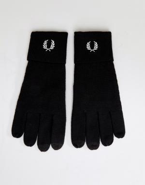 Fred Perry Черные перчатки с логотипом из мериносовой шерсти. Цвет: черный
