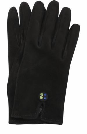 Замшевые перчатки с декоративной отделкой Giorgio Armani. Цвет: черный