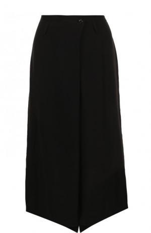 Укороченные однотонные брюки Yohji Yamamoto. Цвет: черный