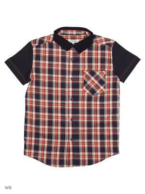 Рубашка S`Cool. Цвет: темно-серый, красный, белый