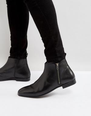 Frank Wright Черные кожаные ботинки челси с молнией. Цвет: черный