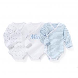 3 боди для новорожденных из биохлопка 0 мес-3 лет R essentiel. Цвет: белый + синяя полоска + синий рисунок