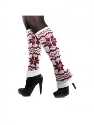Вязаные гетры Hot Fashion. Цвет: красный, белый