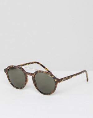 Komono Круглые солнцезащитные очки в черепаховой оправе Harper. Цвет: коричневый
