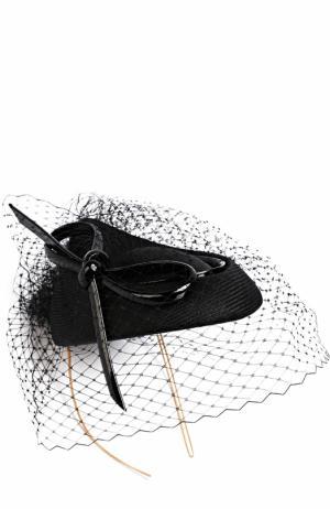 Шляпа с бантом и кружевом Philip Treacy. Цвет: черный