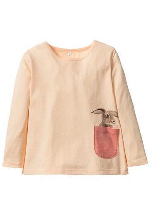 Кофточка с длинными рукавами. Цвет: светло-абрикосовый/персиковый в полоску