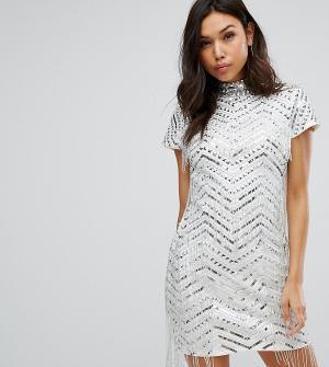 Starlet Платье-футляр с бахромой. Цвет: серебряный