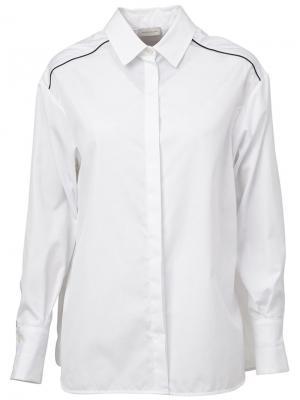 Рубашка с контрастной окантовкой Maison Ullens. Цвет: белый