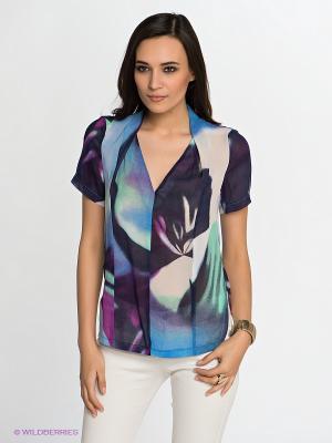 Блузка KEY FASHION. Цвет: синий, зеленый, темно-фиолетовый, молочный