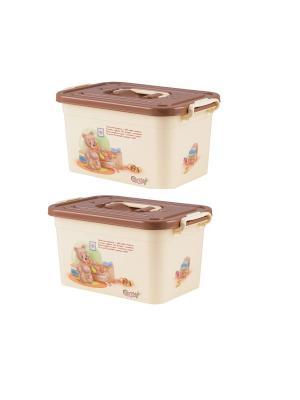 Комплект из 2х контейнеров для хранения POLLY Полимербыт. Цвет: коричневый, кремовый