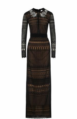 Кружевное платье-макси с длинным рукавом Zuhair Murad. Цвет: черный