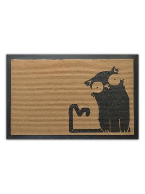 Коврик придверный Кот в шоке MoiKovrik. Цвет: бежевый